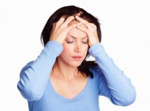 Боль в области лба, кружится голова, слабость и рвота